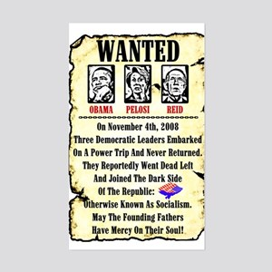 """Wanted: Obama, Pelosi, Reid"" Sticker"