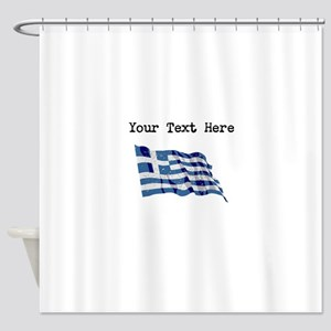 Greece Flag Shower Curtain