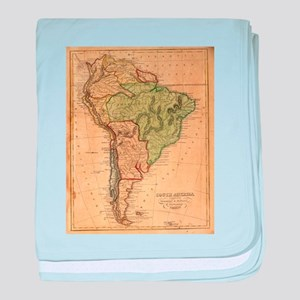 Vintage Map of South America (1821) baby blanket