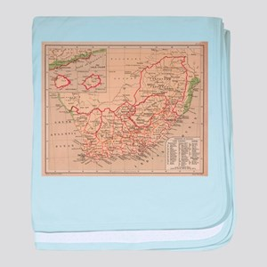 Vintage Map of South Africa (1880) baby blanket