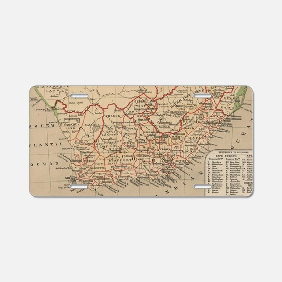 Vintage Map of South Africa Aluminum License Plate