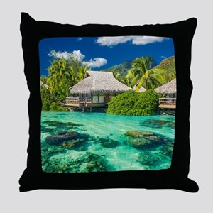 Tropical Water And Bungalow Throw Pillow