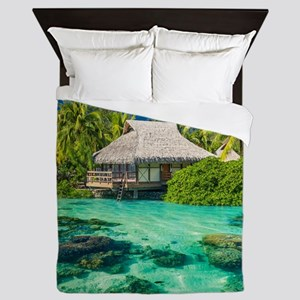 Tropical Water And Bungalow Queen Duvet