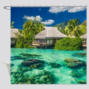 Tropical Water And Bungalow Shower Curtain