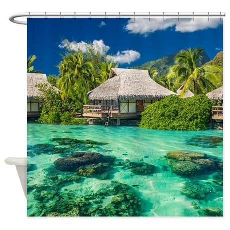 Tropical Water And Bungalow Shower Curtain By WickedDesigns4
