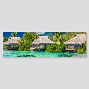 Tropical Water And Bungalow Bumper Sticker