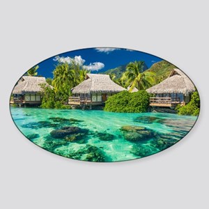 Tropical Water And Bungalow Sticker