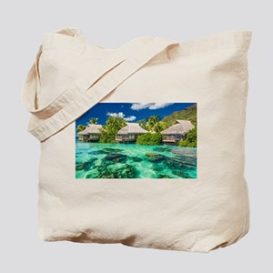 Tropical Water And Bungalow Tote Bag