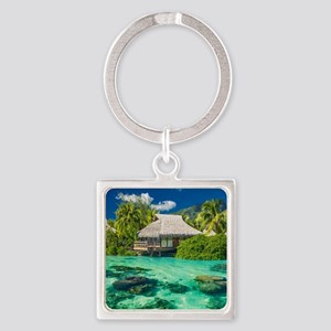 Tropical Water And Bungalow Keychains