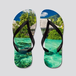 Tropical Water And Bungalow Flip Flops