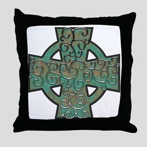 Copper Patina Celtic Cross and Vines Throw Pillow