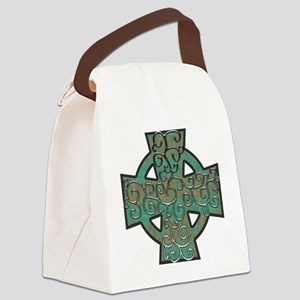 Copper Patina Celtic Cross and Vi Canvas Lunch Bag