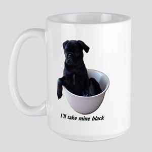 23 Pugs - I'll take mine black Large Mug