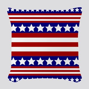 Stars and Stripes Woven Throw Pillow