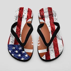 Football on american flag Flip Flops