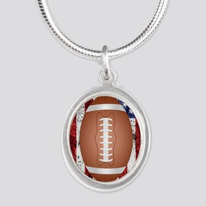 Football on american flag Necklaces