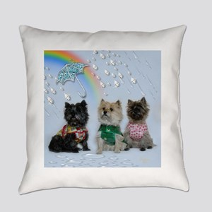 Cairn Terriers in the Rain Everyday Pillow