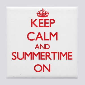 Keep Calm and Summertime ON Tile Coaster