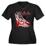 USA Flag Old Women's Plus Size V-Neck Dark T-Shirt