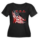 USA Flag Women's Plus Size Scoop Neck Dark T-Shirt