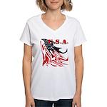 USA Flag Old Glory Women's V-Neck T-Shirt