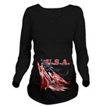 USA Flag Old Glory Long Sleeve Maternity T-Shirt