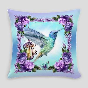 Watercolor Hummingbird, Rose Everyday Pillow