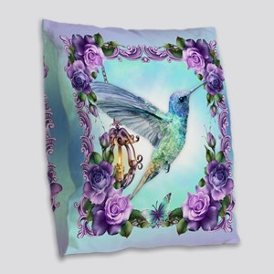 Watercolor Hummingbird Burlap Throw Pillow