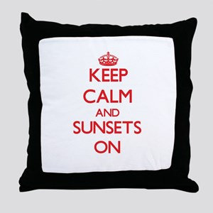 Keep Calm and Sunsets ON Throw Pillow