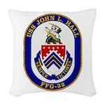 USS JOHN L. HALL Woven Throw Pillow