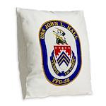 USS JOHN L. HALL Burlap Throw Pillow