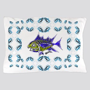 Retro Toothy Framed. Fish Retro Tuna R Pillow Case