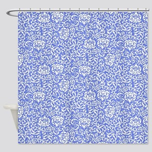 Blue and White Victorian Floral Shower Curtain