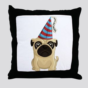 Happy Birthday Pug Throw Pillow