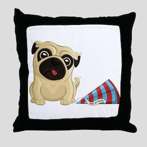 Birthday Pug Throw Pillow