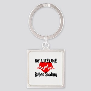 My Life Line Roller Skating Square Keychain