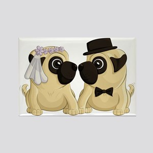 Wedding Pugs Rectangle Magnets