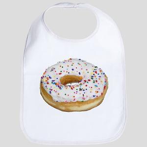 white rainbow sprinkles donut photo Bib