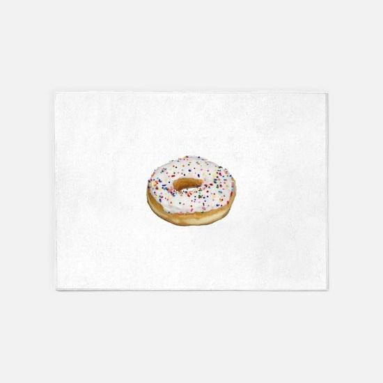white rainbow sprinkles donut photo 5'x7'Area Rug