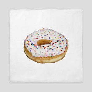 white rainbow sprinkles donut photo Queen Duvet