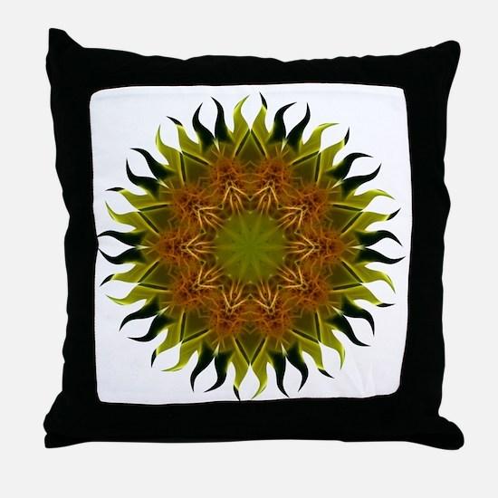 Yellow Fractal Wildflower Sunburst Throw Pillow