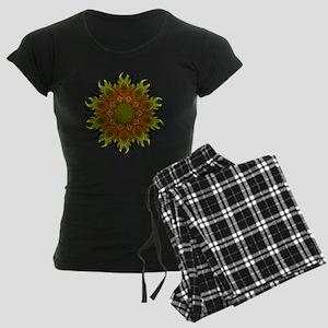 Yellow Fractal Wildflower Su Women's Dark Pajamas