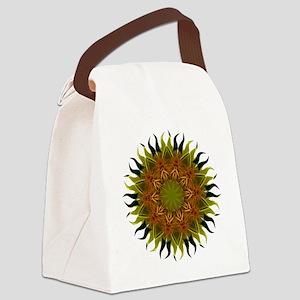 Yellow Fractal Wildflower Sunburs Canvas Lunch Bag
