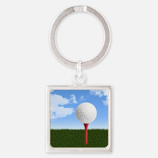 Golf Ball on Tee with Sky and Gras Square Keychain