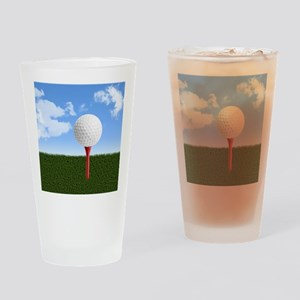 Golf Ball on Tee with Sky and Grass Drinking Glass