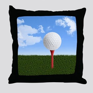 Golf Ball on Tee with Sky and Grass Throw Pillow