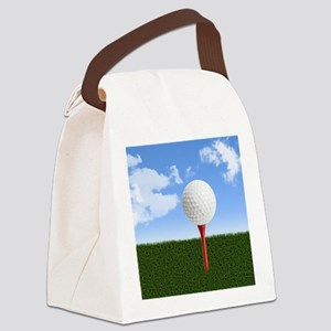 Golf Ball on Tee with Sky and Gra Canvas Lunch Bag