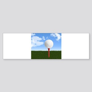 Golf Ball on Tee with Sky and Grass Bumper Sticker