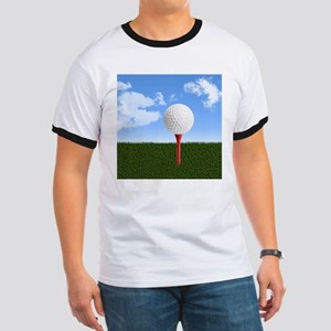 Golf Ball on Tee with Sky and Grass T-Shirt