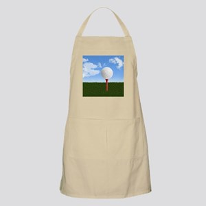 Golf Ball on Tee with Sky and Grass Apron